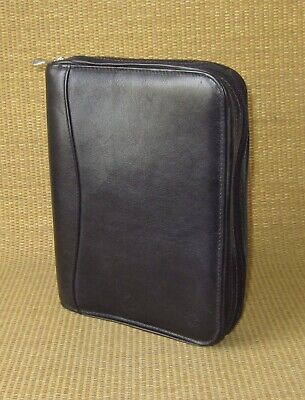 Classic Franklin Covey Black Leather 1.125 Rings Zip Plannerbinder