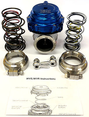 Tial MVR 44mm Wastegate With V Band Flanges All Springs Pressure Included Blue