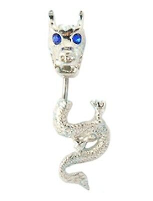 DRAGON BELLY BAR Blue Crystal Rhinestone Eyes Reverse Steel Navel Piercing Ring