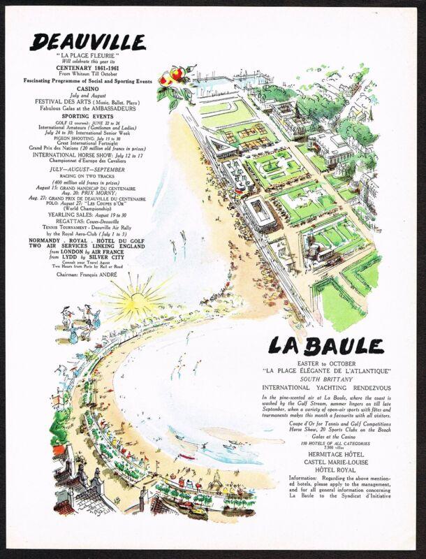 1961 Vintage Deauville & La Baule Hotel Resort Travel Tourism Art Print Ad