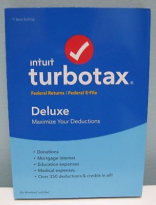 TURBOTAX DELUXE 2016 FEDERAL ONLY (NO STATE) , FOR WINDOWS AND MAC , NEW IN BOX