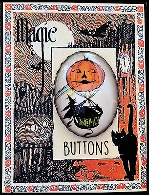 WITCH IN  HOT AIR BALLOON Glass BUTTON Filigree  BRASS XL VINTAGE HALLOWEEN