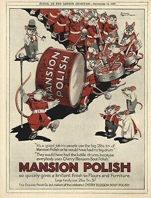 HARRY ROUNDTREE ILLUSTRATED Mansion Polish VINTAGE ADVERTISEMENT - Rabbits 1927
