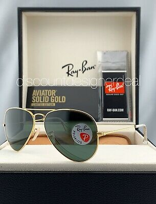Ray Ban Aviator RB3025K Sunglasses 160/N5 Solid 18K Gold Green Polarized Lens (Ray Ban Polarized Aviators Womens)
