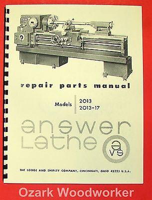 Lodge Shipley Answer Lathe 2013 2013-017 Parts Manual 0823