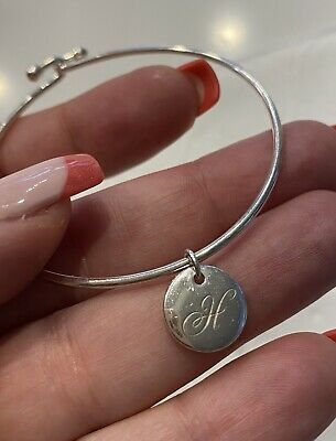 """Tiffany & Co Sterling Silver Wire Beaded Hook Bangle Bracelet With """"H"""" Charm"""