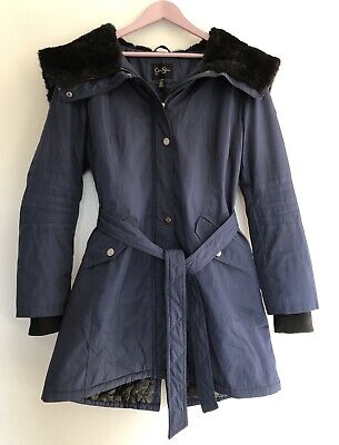 Jessica Simpson - Navy Long Winter Coat With Faux Fur Lined Hood. Size - Large