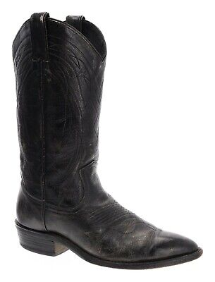 FRYE Cowboy Boots 9 C Womens WESTERN Pointy Toe Black DISTRESSED Leather USA VTG