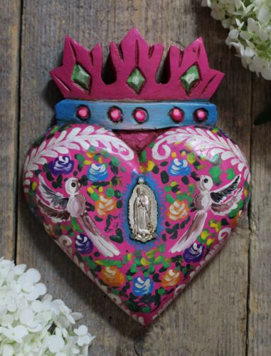 Pink Heart Crown Doves & Guadalupe Milagro Hand Painted Wood Mexican Folk Art