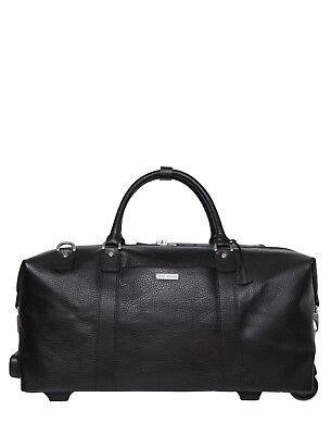 BROOKS BROTHERS Black Leather Wheeled Duffle Duffel Weekender Travel Bag