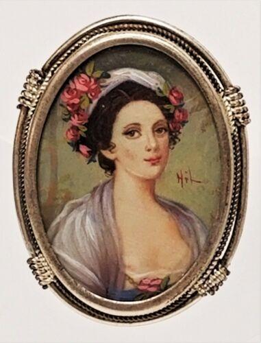 Antique Hand Painted Miniature Portrait 800 Silver Pendant Brooch Signed HIL