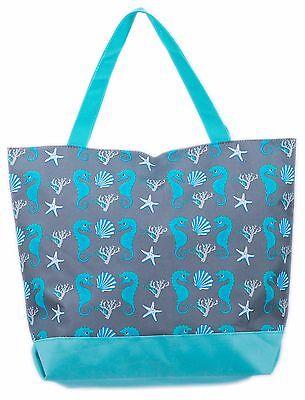 Ladies Womens Beach Bag Tote Bags Summer Extra Large Canvas Shoulder Zip Blue