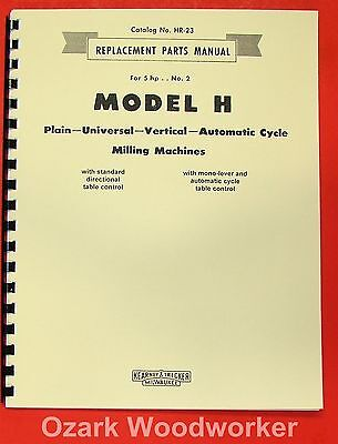 Kearney Trecker Milwaukee Model H Milling Machines Part Manual 0419