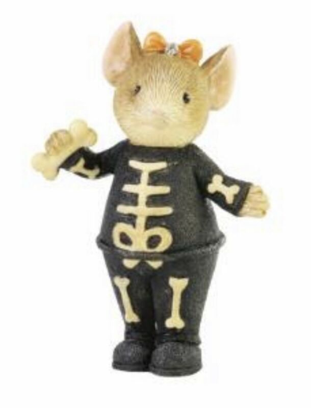 """Tails with Heart Halloween Skeleton Mouse Figurine 2""""H Enesco NIB 2021 New"""