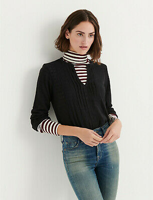 Pintucked Drop (Women's Lucky Brand XL Black Drop Needle Pintucked Shirt Top Long Sleeve NWT )