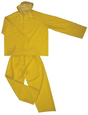 2 PIECE HEAVY DUTY YELLOW RAIN SUIT 35MM PVC/POLYESTER HIGH VISIBILITY FLEXIBLE Heavy Duty Raincoats