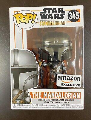 IN HAND Funko Pop! Star Wars The Mandalorian #345 Chrome Amazon Exclusive NEW