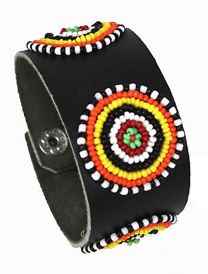 Black Leather Snap Cuff Bracelet with Three Beaded Circles, Artist Intials -