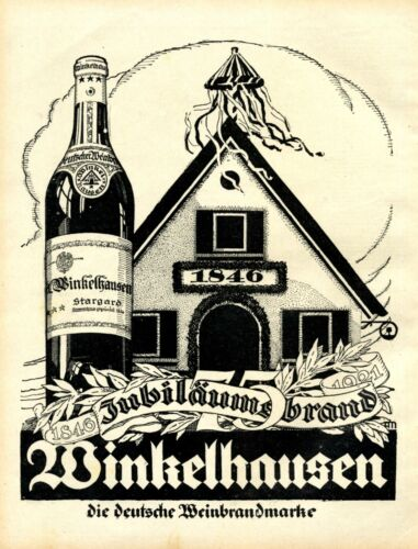 Winkelhausen Brandy German 1921 ad topping out ceremony advertising Germany
