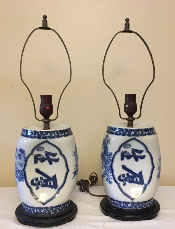 2 Antique Chinese Porcelain Monk Pillow Lamps, Electrified, One Pair