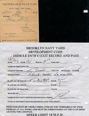 2 Brooklyn Navy Yard Visitor's Passes 1889 and 2013 United States USN RARE SET !