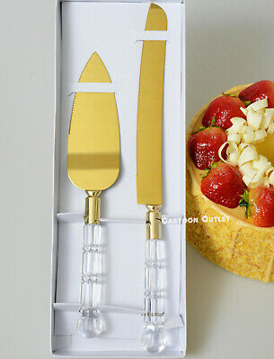 Birthday Comunion Bautizo Wedding Gold Cake Knife Set Cuchillo De Pastel Server
