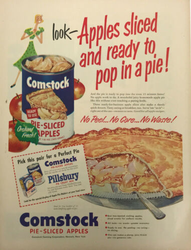 Comstock Pie Sliced Apples Magazine Print Ad Vintage Food Fruit Grocery Original