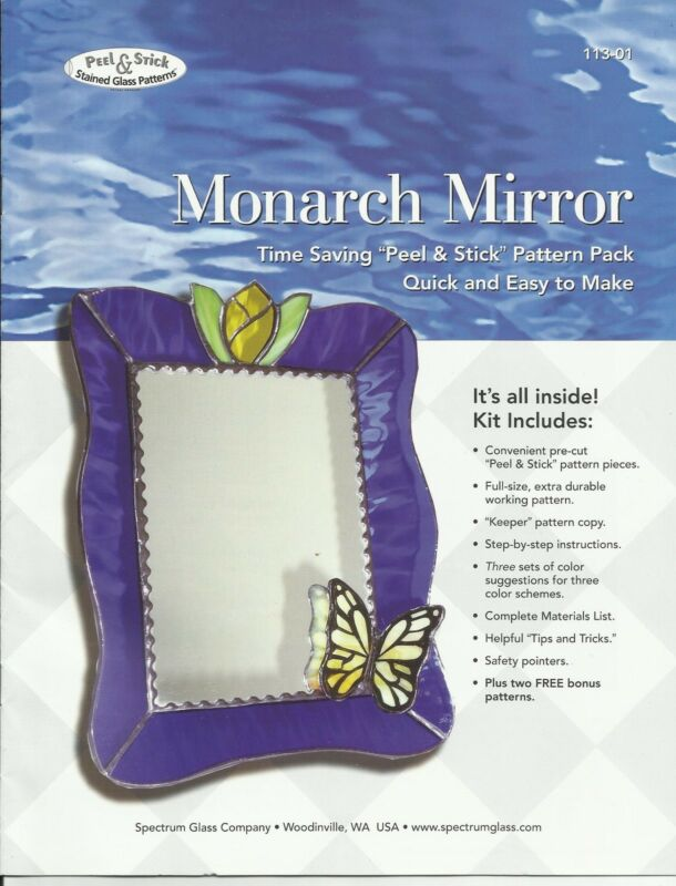 MONARCH MIRROR Peel & Stick Stained Glass Supplies Patterns Spectrum Glass