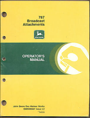 John Deere Manual 787 Broadcast Attachments