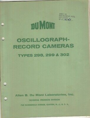 1955 Dumont Oscillograph Record Cameras Type 298299 302 Specs Operation 24p