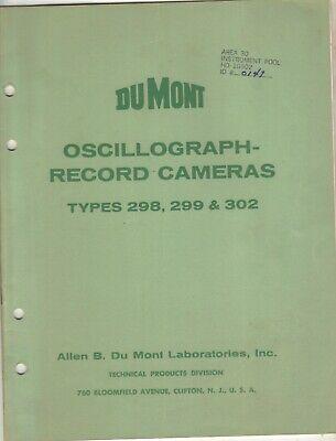 1955 Dumont Oscillograph Record Cameras Type 298299 302 Specs Operation 24p