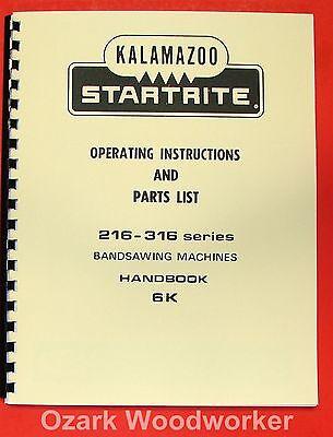 Kalamazoo-startrite Band Saw 216 316 Service Manual 0413