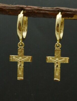 14k White or Yellow Solid Gold Dangle Cross Charm Huggie hoop Earrings