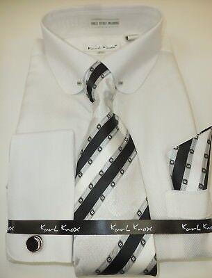 (Mens Gorgeous White Eyelet Collar Bar French Cuff Dress Shirt by Karl Knox 4380)