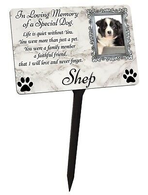 Your Photo Personalised Dog Puppy Memorial Plaque & Stake. garden grave