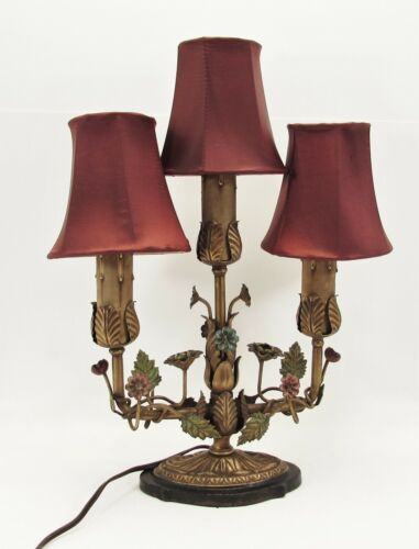 ANTIQUE ORNATE ITALIAN FRENCH TOLE FLORAL CANDLE 3 ARM CANDELABRA LAMP 1920s