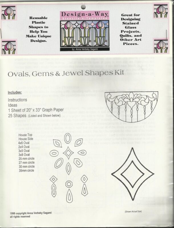 Ovals Gems Jewel Shape Kit REUSABLE PLASTIC SHAPES Stained Glass & Quilt Design