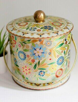 Vintage Floral Tin Daher Metal Bucket, 1950s Shabby Craft Room Cottagecore Boho