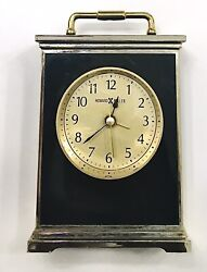 Vintage Carriage Style Howard Miller Brass / Black Glass Desk Clock With Alarm
