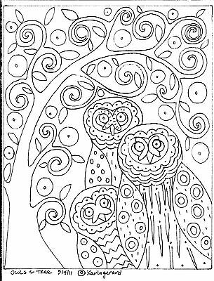 RUG HOOKING CRAFT PAPER PATTERN Owls and Tree FOLK ART PRIMITIVE Karla Gerard  ()