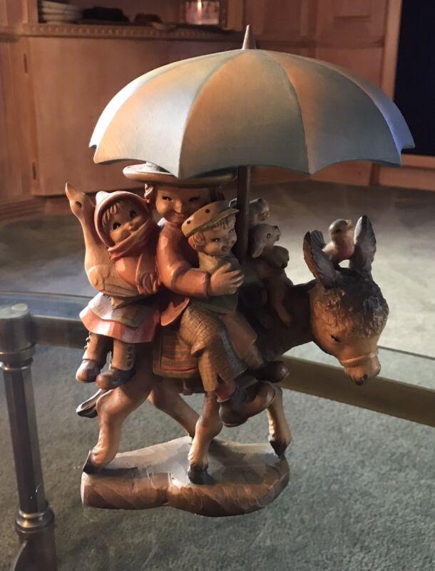 "ANRI Ferrandiz RIDING THROUGH THE RAIN Donkey Hand Carved 10.5"""