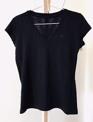 ICEBREAKER Superfine 190 Merino V-neck T-Shirt Black Fitted XS