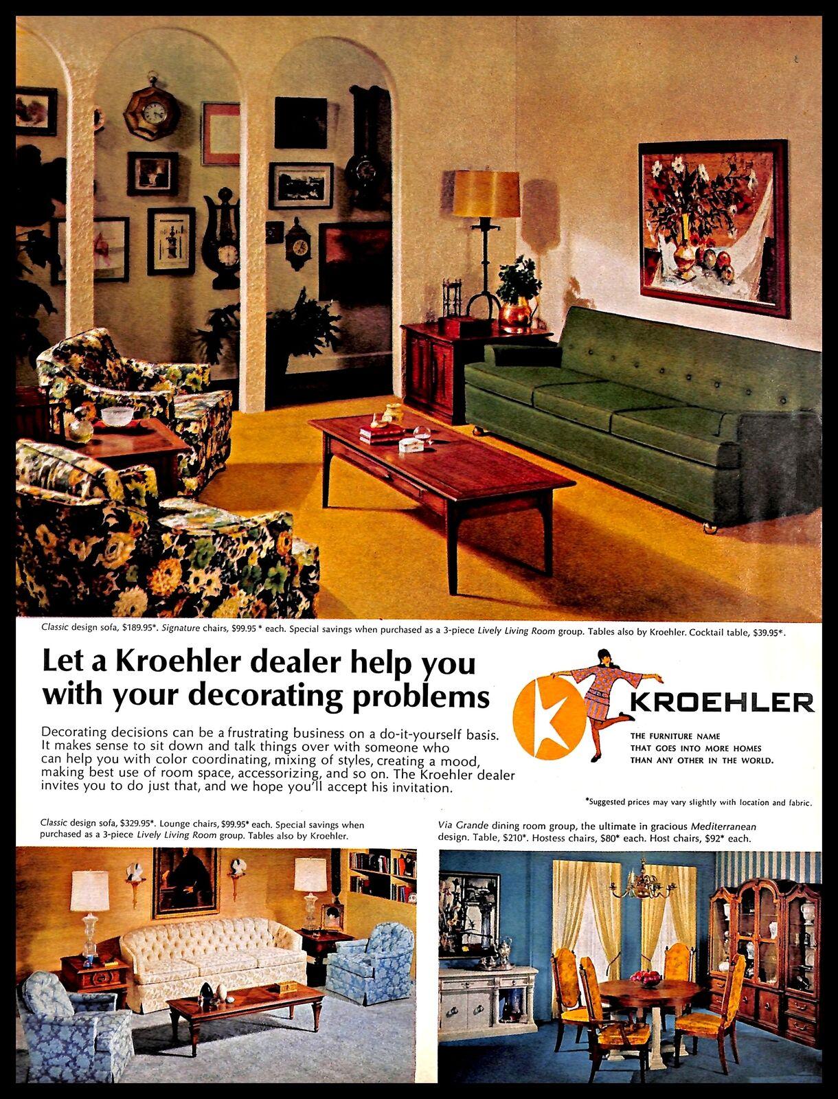1967 Kroehler Furniture Vintage PRINT AD Room Interior Decorating Home  Decor | eBay