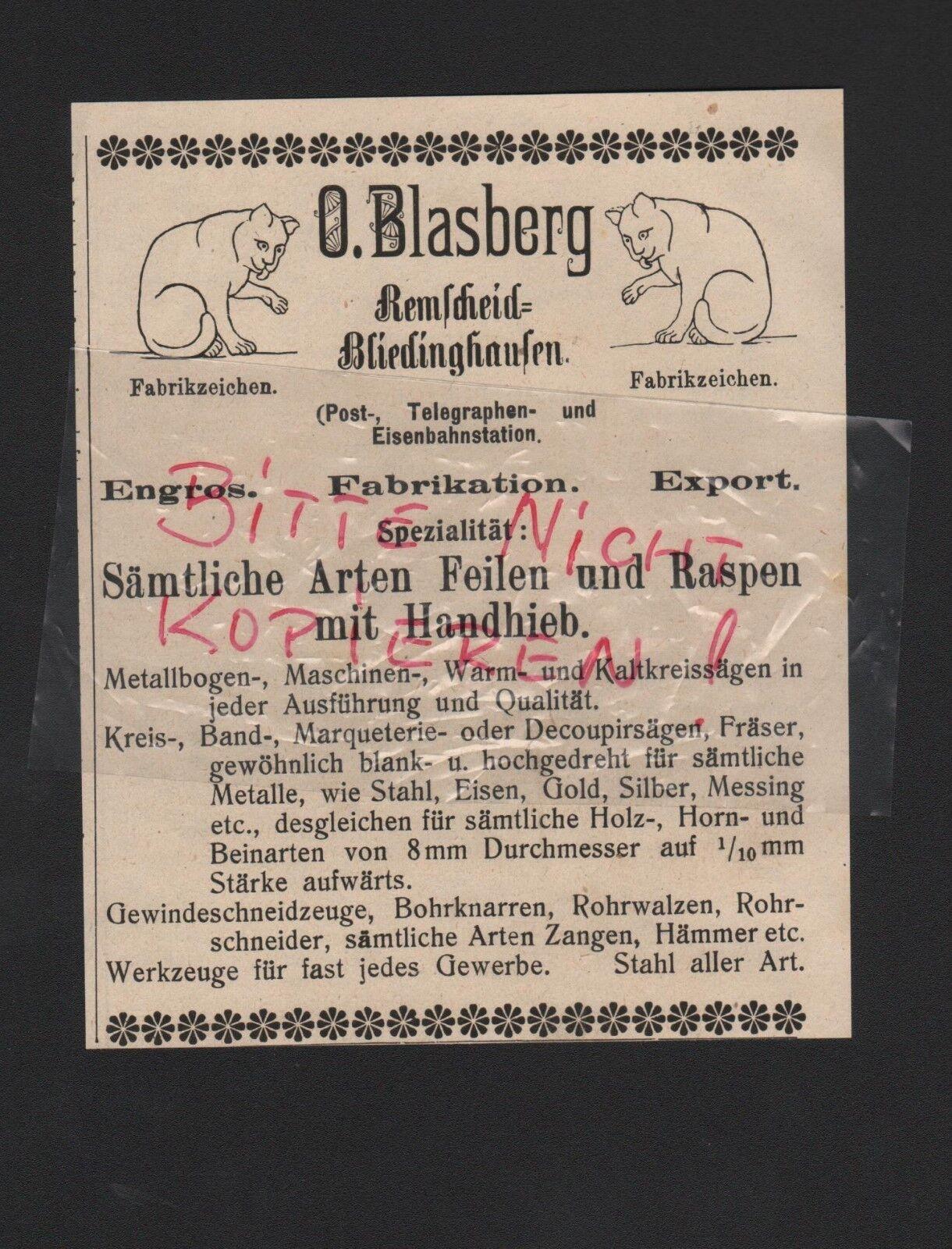 REMSCHEID-BLIEDINGHAUSEN, Anzeige 1909, O. Blasberg Feilen Raspen