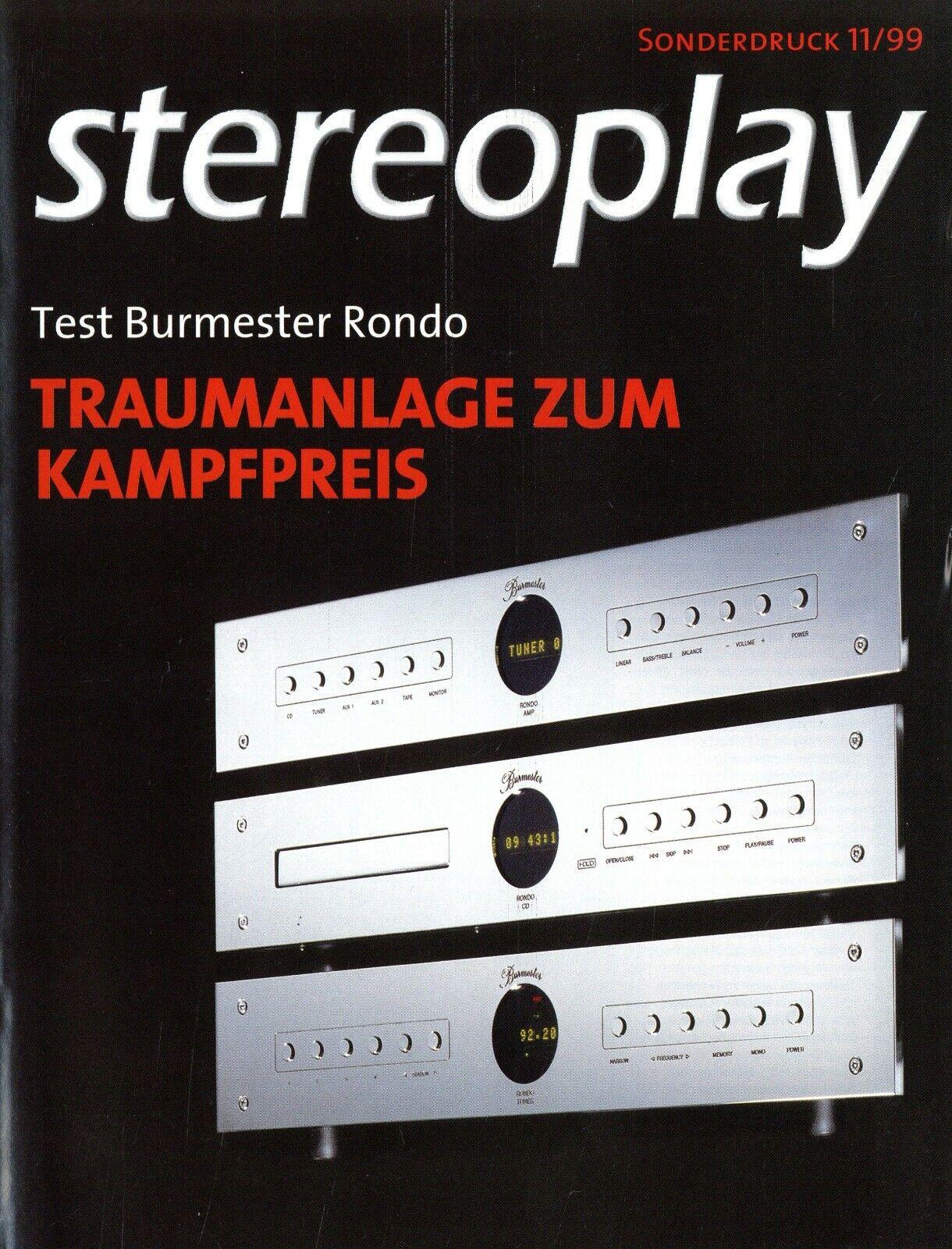 Burmester Rondo HiFi Anlage Test im Sonderdruck Stereoplay 1999 11/99 reprint