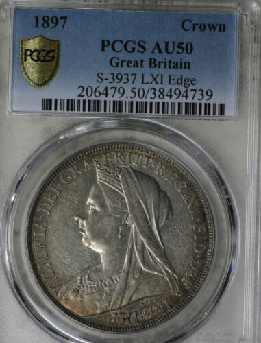 Nice Original Almost Uncirculated 1897 Great Britain Crown LXI Edge - PCGS AU50!