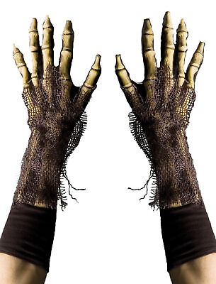 ADULT GRIM REAPER SKELETON LATEX GLOVES COSTUME ACCESSORY 1008GBS NEW