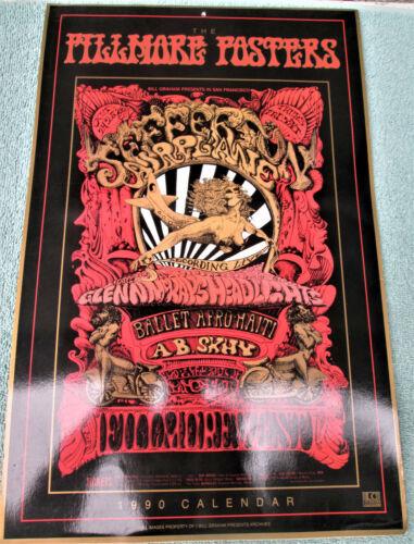 FILLMORE POSTER CALENDAR 1990 Doors Yardbirds Jefferson Airplane CSN&Y Byrds NM