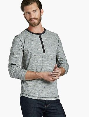 Nwt Lucky Brand Huntington Henley  Large   Heather Grey   Msrp  59 50
