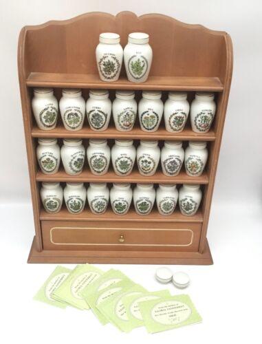 Gloria Vanderbilt Concepts Franklin Mint 23 Spice Jar Set w/Holder and Cards